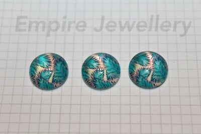 2 x Tropical Leaves #1 12x12mm Glass Cabochons Cameo Dome Rainforest Palm Tree