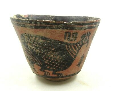 Authentic Ancient Indus Valley Terracotta Bowl W/ Birds  - L107