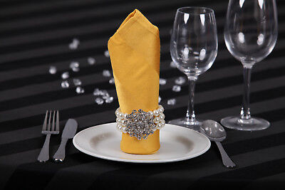 Gold Table Napkins Satin Striped 20 pcs Tableware Decor Wedding Events Party