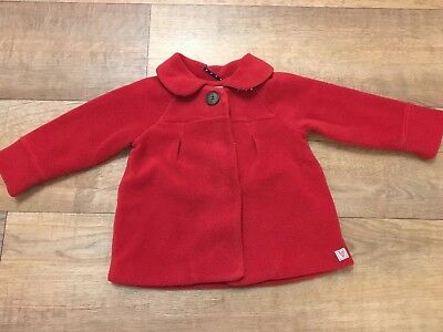 Baby Girl Mothercare Red Coat Size 12-18 Months