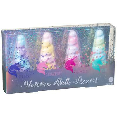 DAMAGED BOX -  Scented Unicorn Horn Bath Bomb Bombs Fizzer Fizzers Gift Set of 4