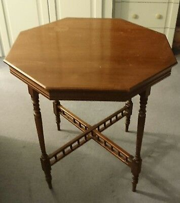 Vintage Hexagon Wooden Occasional Table  in need of restoration.
