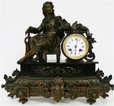 Antique French Slate/Marble Mantel Clock 8 Day Spelter Philosopher Figure Clock