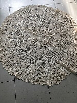 Cream Vintage Hand Crochet Lace Doily Cotton Tablecloth Round Table Topper 75in