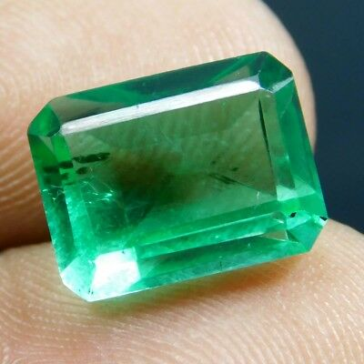 6.50 Ct VVS Transparent Colombia Emerald Cut Gemstone GIE Lab Certified