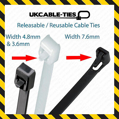 Releasable Cable Ties Reusable Black Natural Nylon Plastic Zip Tie Wraps