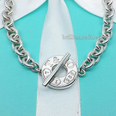 Tiffany & Co. 1837 Toggle Clasp Chain Necklace Round Circle 925 Sterling Silver