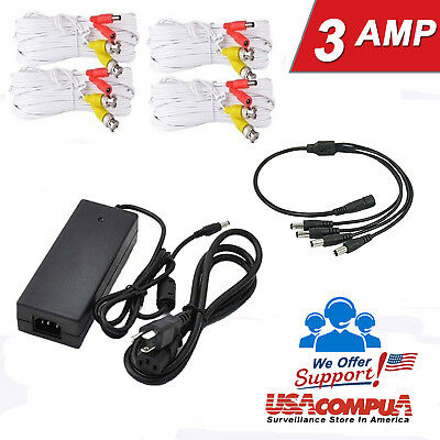 CCTV Cable 50 FT & Power Supply Adapter 12V 3Amp  Security Camera Adapter  AC/DC