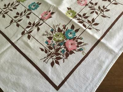 VTG White Tablecloth with Roses Brown Barb Wire Fence Pink Green Blue 52 x 47