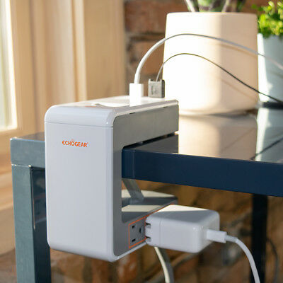 Echogear Desk Clamp Power Station 1080J Of Surge Protection - 6 AC Outlets 2 USB