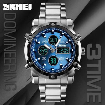 SKMEI Men's Stainless Steel Luxury Watch Analog & Digital Countdown Wristwatch