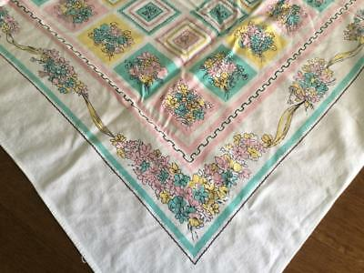 Vintage White Tablecloth with Pink Turquoise Green Yellow Flower Bouquet 43 x 45