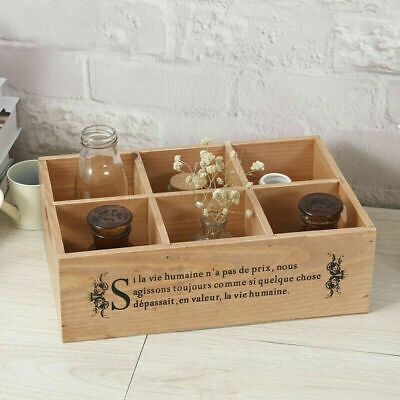 Vintage Style Wooden Compartment Storage Tray Jewellery Organiser Box Planter