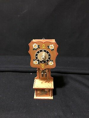 Mini Clock made in West Germany Grandfather Natural w/flowers antique clock Part