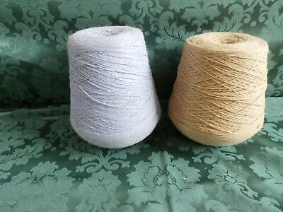 2 cones of  of knitting machine wool or yarn, crocus 737 grams and camel 847 gra