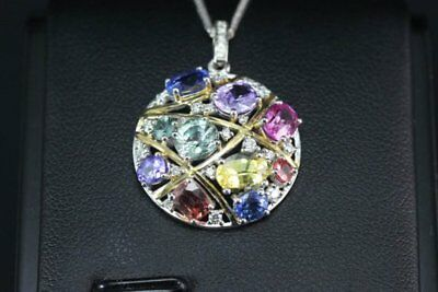"14K White Gold Over Multi-Color Sapphire & Diamond Pendant 18"" Chain Necklace"
