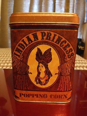 """Indian Princess Popping Corn collectible tin canister 4.75"""" tall  Nice with lid"""