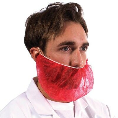 100 Disposable Red Beard Snood covers Cover Catering Food Beard Mask Hygiene