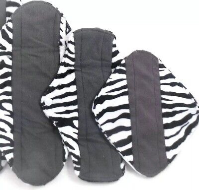 Reusable Charcoal Cloth Menstrual Sanitary pad starter set *Free P&P*