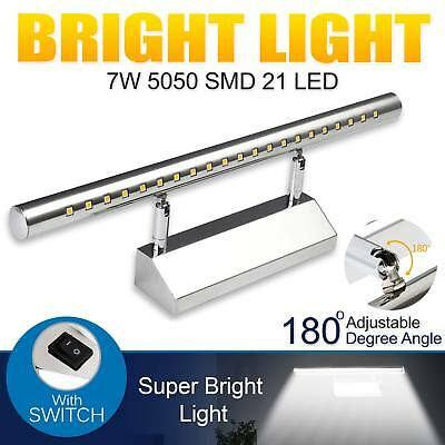 7W White Wall LED 5050 SMD Front Light Bathroom Over Mirror Lamp With Switch UK