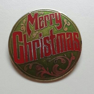 SHIPS FREE Merry Christmas Pin Broach Broch red green gold vintage
