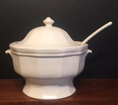 Antique White Ironstone Large Deep Tureen W/ Ladle Excellent