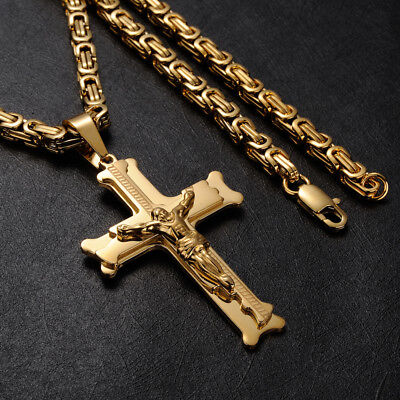 "Men 18K Yellow Gold Filled Jesus Cross Pendants Necklace Chain Jewellery 24""x5mm"
