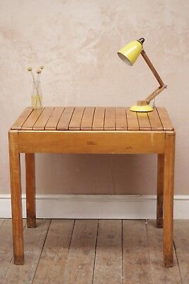 Antique Vintage Retro Industrial Mid Century Wooden School Desk