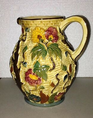Indian Tree vase by HJ Wood, Hand painted art pottery ceramic jug