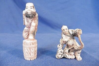 Antique / Vintage Japanese Netsuke x 2 handcarved in good condition