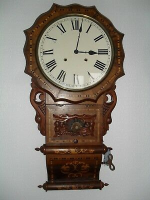 Beautiful Antique Marquetry Inlaid Wall Clock