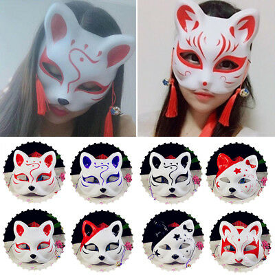 Anime Manga Movie Cosplay Halloween Japanese Hand-Painted Fox Kitsune Mask