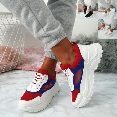 Womens Ladies Chunky Fashion Trainers Lace Up Sneakers Plimsoll Shoes
