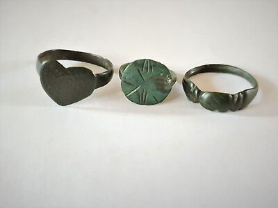Lot Of 3 Roman, Medieval Bronze Engraved Rings