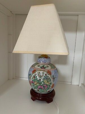 Small table Lamp with oriental floral design;  with shade;  multi-colors