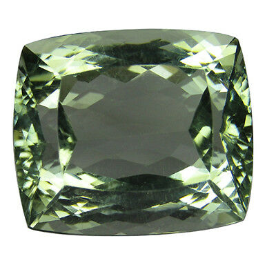 19.20Cts Natural Gorgeous Green Amethyst-Prasiolite-Cushion Cut Brazil Gemstone