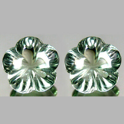 6.32Cts Natural Gorgeous Green Amethyst-Prasiolite- Flower Carving Matching Pair