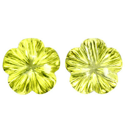 4.53Cts Natural Gorgeous Lemon Quartz Flower Carving Matching Pair Gemstones