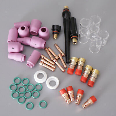 49x WP-17/18/26 TIG Welding Torch Stubby Gas Lens #10 Pyrex Glass Cup Kit