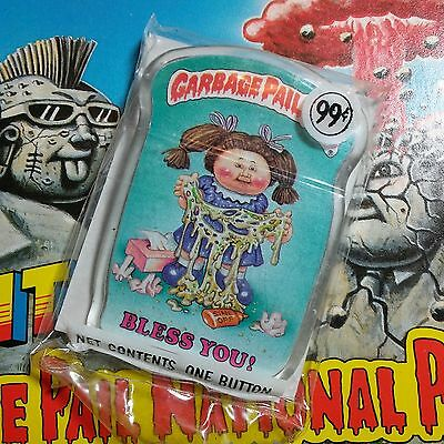 New & unopened vintage 1986 Garbage Pail Kids button BLESS YOU pin 1980's Topps