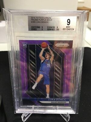 2018-19 Panini Prizm Luka Doncic Prizms Purple Wave Rookie BGS 9 Mint