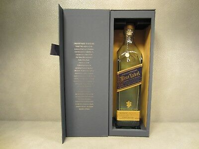 Johnnie Walker Blue Label Scotch Whiskey Gift Box and Empty Bottle w/ Medallion