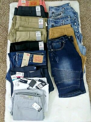 Mens Dress Pants Jeans Lot NWT vintage button fly Levi's (stained) dockers slack