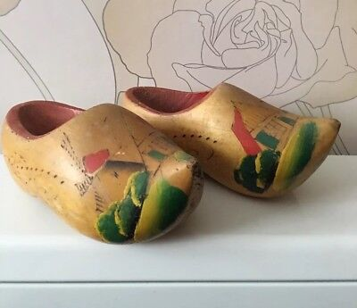Vintage Childs Childrens ? Carved Wooden Clogs