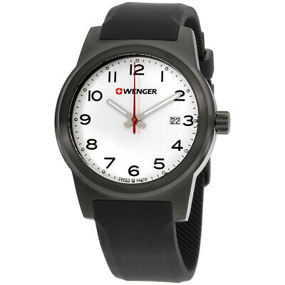 Wenger Field Color White Dial Silicone Strap Men's Watch 010441150CB