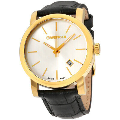 Wenger Urban Classic Silver Dial Leather Strap Men's Watch 011041119