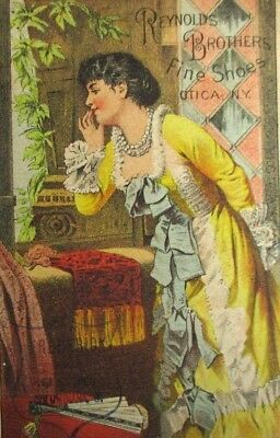 Victorian Trade Card Reynolds Brothers Fine Shoes Atica NY Beautiful Woman