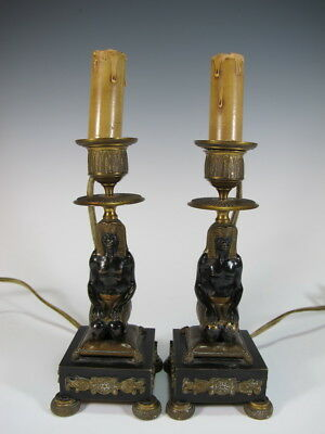Antique Pair Of Austrian Bronze Table Lamps # D6904