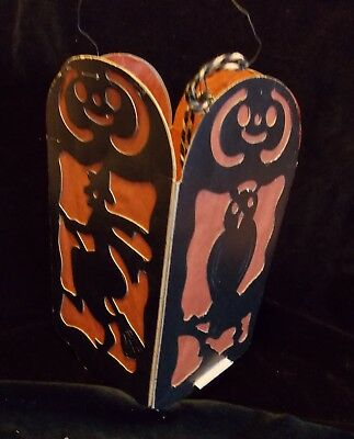 Antique Cardboard Halloween Lantern.   4 sided w/Cat, Owl, Witch, Devil