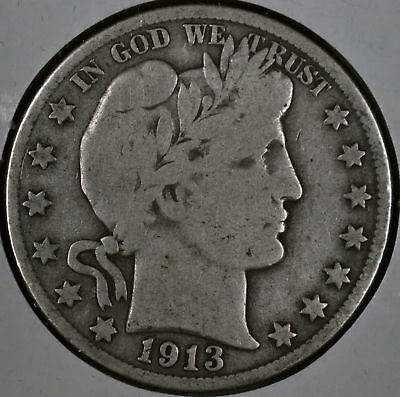1913-D 50C Barber Half Dollar - Very Good Corrosion